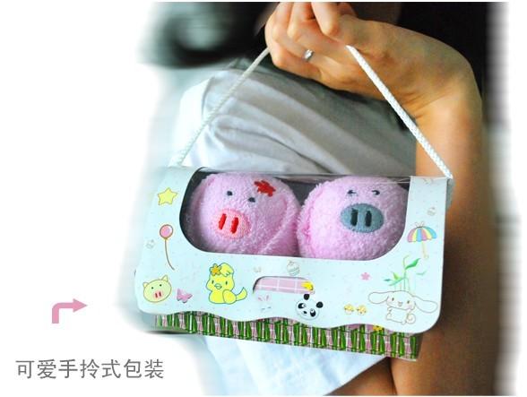 可爱小动物情侣毛巾(小猪)