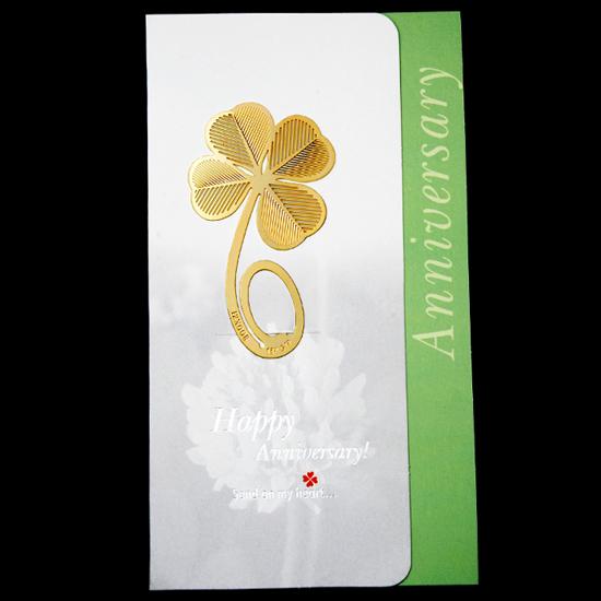 韩国bookzzicard创意18k镀金可爱书签--四叶草