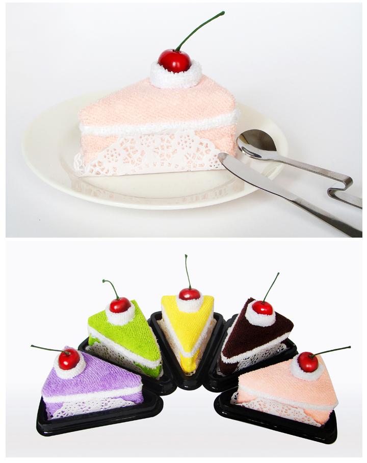 三角形蛋糕小毛巾 创意礼物
