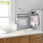 厨房带切割保鲜膜收纳架 纸巾毛巾置物架