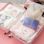 时尚旅行自封袋 衣物分类收纳袋 透明防水收纳包(17*25)