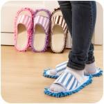 新款珊瑚绒条纹可机洗擦地拖鞋 雪尼尔亚麻懒人拖地拖鞋