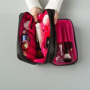 法蒂希 气质黑色尼龙布双拉链化妆包女双面旅行洗漱收纳包