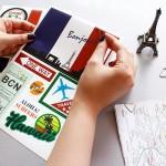 特价 复古潮流旅行行李箱纸质标签贴 日常DIY装饰贴纸2张入
