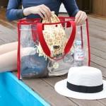法蒂希 PVC夏日游泳便携衣物时尚单肩透明沙滩包旅行手提袋