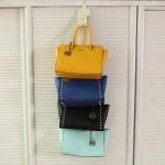 日本木晖 包包收纳袋多层墙上悬挂式衣柜收纳挂式壁挂 布艺整理袋  四个扣