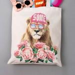法蒂希 动物潮人创意帆布手提大单肩包购物包环保袋