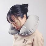 旅行枕头护椎枕飞机靠枕成人 便携按压自动充气U型枕