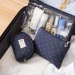 小皇冠透明PVC化妆包三件套 旅行便携大容量洗漱包手拿化妆包