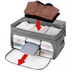 日本木晖 增高增量竹炭可视衣物收纳箱 整理袋 69L